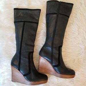 Steve Madden Leather Wedge Boots, Size 10M